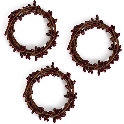 3 Pcs Artificial Pip Berry Garland,Christmas Garland Winter Garland for Indoor Outdoor Wedding Decor (Burgundy)
