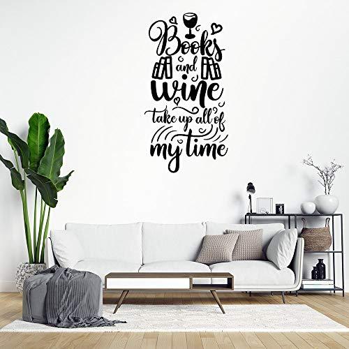 Adhesivo de pared de PVC extraíble con texto en inglés 'Books and Wine Take Up All of My Time'