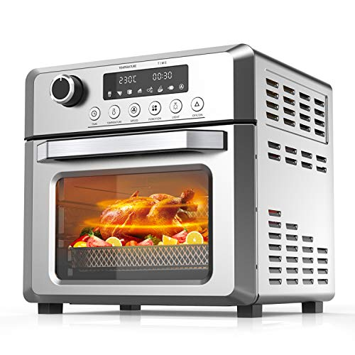 KBS Toaster Oven Air Fryer Oven, 7-in-1 Convection Oven with Air Fry, Bake, Broil, Toast, Dehydrate, Pizza, Warm Function, 1500W Air Fryer Toaster Oven with Timer, Temperature Control, 6 Accessories