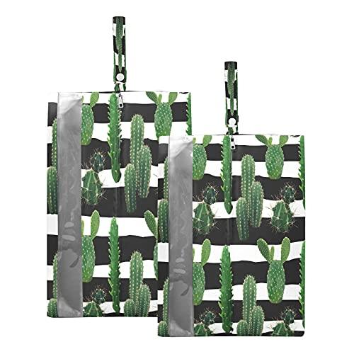 F17 - Bolsas de viaje para zapatos de árbol de cactus tropical, impermeables, portátiles, ligeras, para viajes, bolsa de almacenamiento para hombres y mujeres, 2 unidades