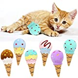 Ice Cream Catnip Toys Kitten Chew Bite Toys Interactive Pillows Teeth Plush Plaything for Cat Gift Cat Lover Funny Pets Supplies Set of 6