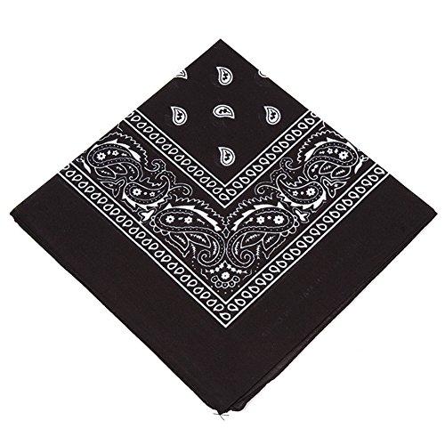 Cotton Head Wrap Novelty Bandanas Scarf Wristband Face Mask Headwear (Black)