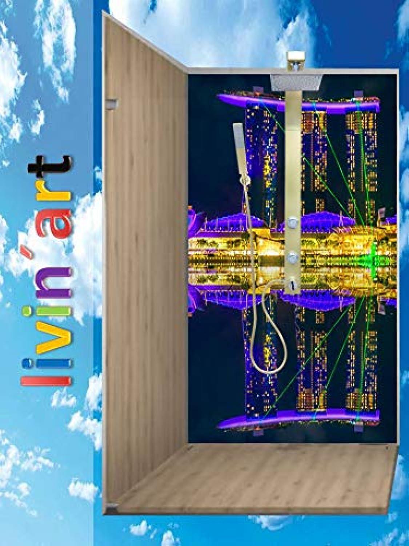 Original LivinART Duschrückwand, Badrückwand, Rückwand - Singapur Marina Bay Sands, Strand Meer und Himmel, ZEN Wasser Spa, Feng Shui, fugenlos, Bad-Verkleidung, Wandbild, Dekor, Fliesenersatz