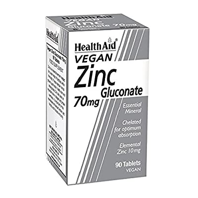 HealthAid Zinc Gluconate 70mg - 90 Vegan Tablets by HealthAid