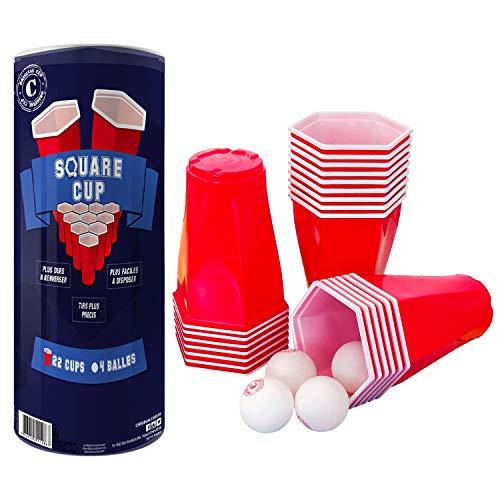 Offizieller Original Square Cup | Beer Pong Set | Premium Qualität | 22 Rote sechseckige amerikanische Becher 53 cl | 4 Bälle | Trinkspiel | Party & Aperitif Spiel | House Party | OriginalCup®