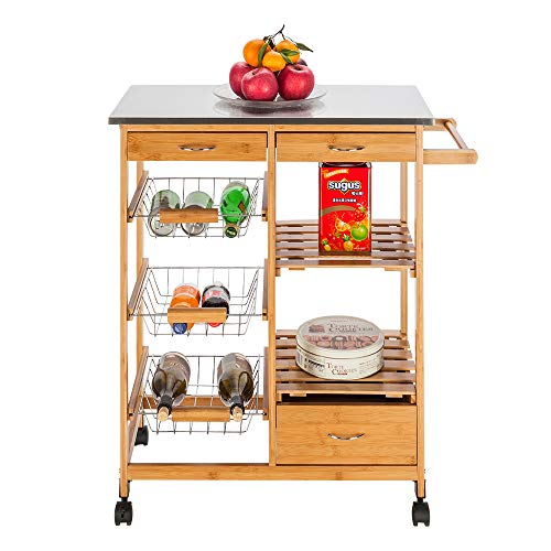 Kitchen Island Cart, Wood Single Drawer Kitchen Cabinet Storage Cart, Utility Rolling Kitchen Trolley Serving Cart with Stainless Steel Table Top