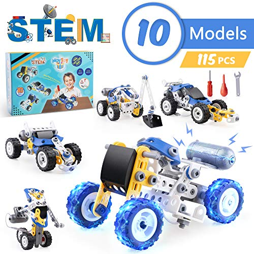 NOYTOY STEM Toys Kit with Electric Power Motor 10 in 1 Motorized Educational Construction Engineering Building Blocks Set for 6 7 8 9 10+ Year Old Boys & Girls | Best Toy Gifts for Kids