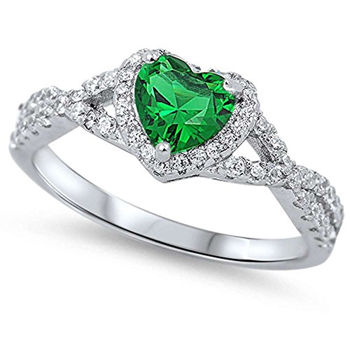 Oxford Diamond Co Sterling Silver Heart Halo Simulated Gemstone Promise Ring Sizes 10