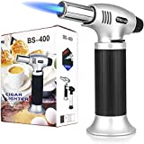 Culinary Butane Torch, Sondiko Professional Cooking Torch Lighter Butane Refillable, Adjustable Flame, Safety Lock for Baking, BBQ, Creme Brulee, Heat Shrinking Tubing (Butane not included)