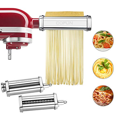 Pasta Maker Attachment for Kitchenaid Stand Mixer,Cofun 3 Piece Pasta Maker Machine with Pasta Roller and Cutter Set for Dough Sheet, Spaghetti and Fettuccine kitchenaid Attachments for Mixer