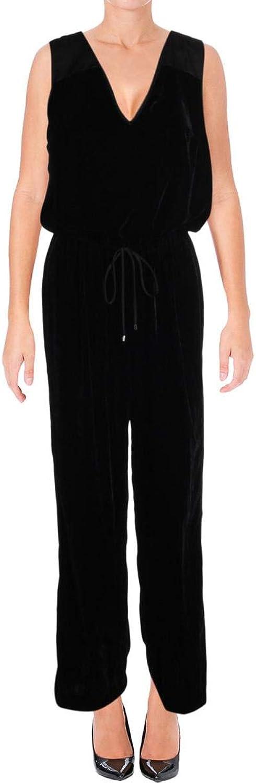 Lauren Ralph Lauren Womens Velvet Sleeveless Romper Black 8