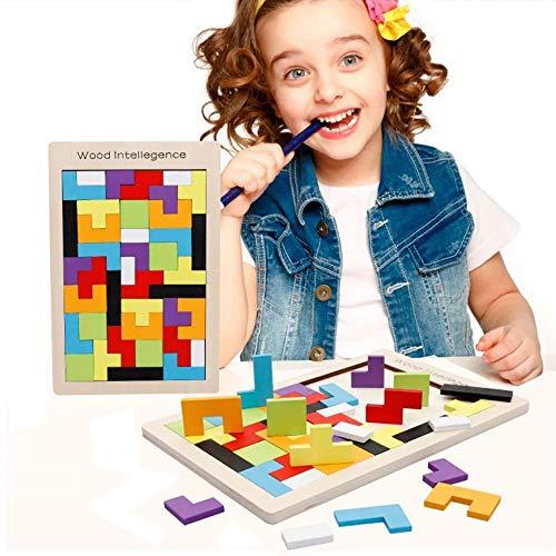 テトリスブロック テトリス木製パズル モンテッソーリ 知育玩具 積み木 多彩な木製テトリスパズルゲーム