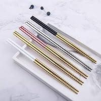 5ペアステンレススチールスクエア箸中国のスタイリッシュな健康的な軽量中国の箸金属ノンスリップデザインキッチン (Color : Multicolor)
