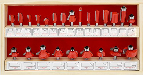 ABN Tungsten Carbide Router Bit Set - 24 Piece Router Set 1/4in Shanks - for Beginners to Commercial...