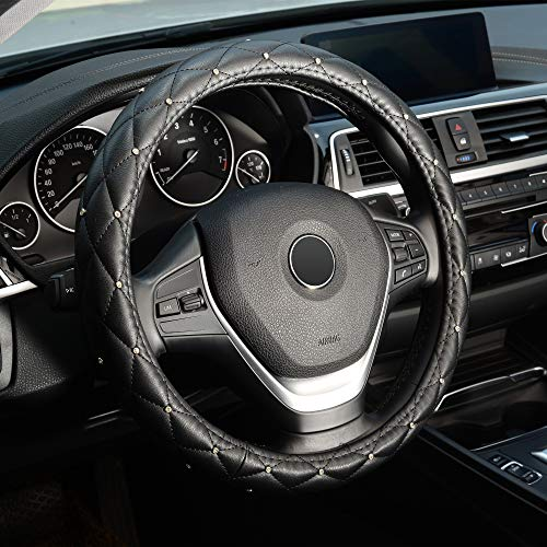 Universal 15 inch Steering Wheel Cover Diamond , Breathable, Anti-Slip, Odorless, Black Color