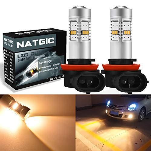 NATGIC Lot de 2 ampoules LED H11 1800 lumens 14 SMD 3020 CREE H8 H9 utilisées pour les feux de brouillard avant de voiture, feux de circulation diurnes, DC 10–16 V halogène, jaune