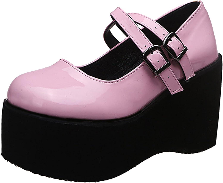 Women's Classic T-Strap Platform Mid-Heel Square Toe Oxfords Dre
