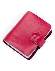 Esdrem - Porta carte di credito in pelle per carta d'identità da visita, stile libro 60 conti, porta carte di credito, colore: Rosa acceso