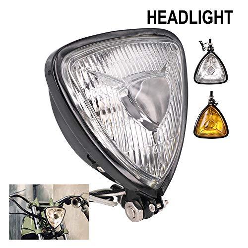 Faro universal de motocicleta triángulo – 12 V, luz de cruce de 35 / 35 W para Harley Honda, Kawasaki, Suzuki, Yamaha, Cafe, Racer, Bobber Chopper Vintage Bike