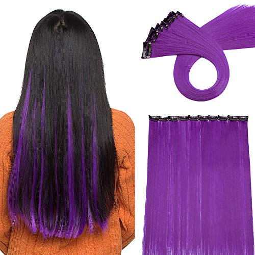 Clip in Extension Bunte Haarsträhnen Regenborgen Farbiger Haarteil wie Echthaar 1 Clip Glatt Haarverlängerung 50cm 10 Pcs 80 Gramm Dunkel Lila