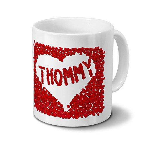 Tasse mit Namen Thommy - Motiv Rosenherz - Namenstasse, Kaffeebecher, Mug, Becher, Kaffeetasse - Farbe Weiß