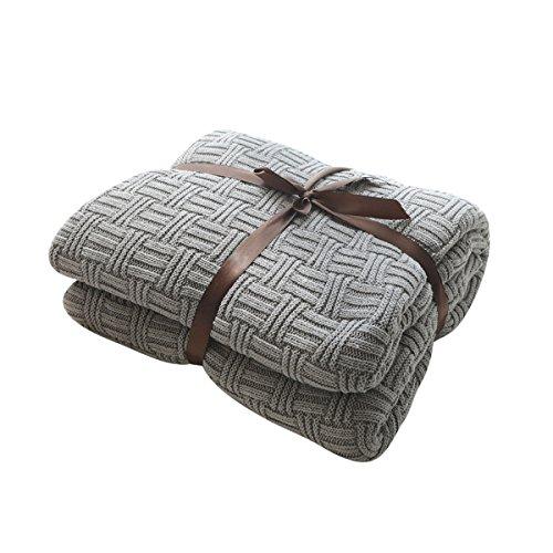 MYLUNE HOME 100% Algodón Tejer Elegante Manta de Punto Cobertura para Ver la televisión en la silleta, sofá y Cama, Las Dos Caras Cubiertas (180x200cm, Gray)