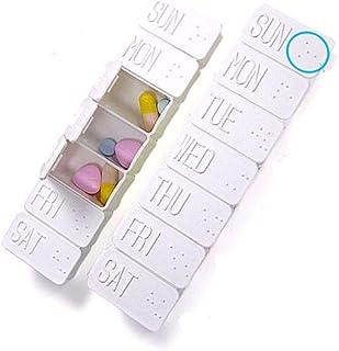 7 Days Pill Box Case Holder Weekly Medicine Storage Organizer Container Daily Pill Box Dispenser with Braille