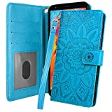 Harryshell Kickstand Flip PU Leather Wallet Case Cover with Card Slots Wrist Strap for LG K30 2019 / LG Escape Plus/LG Journey LTE/Prime 2 / Arena 2 / Aristo 4 Plus/Tribute Royal (Blue)