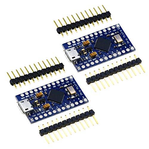 2x Pro Micro Arduino ATMEGA32U4 Entwicklungsplatinen 5V 16MHz Micro-USB-Anschluss für Arduino