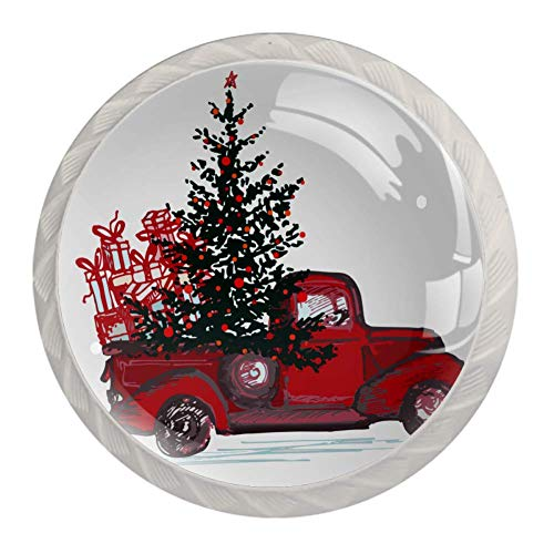 4pcs Knobs Black Drawer Knobs for Kitchen, Bathroom, Closet, Wardrobe Christmas Tree Red Car Gift