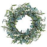 MeetSun Eucalyptus Wreath, 16 inch Artificial Green Leaves Wreath, Front Door Wreath with Eucalyptus Leaves and Berry, Green Wreath for Front Door, Ideal for Festival Wall Indoor Outdoor Décor