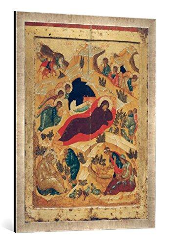 Kunst für Alle '–Fotografía enmarcada de AKG Anonymous Nacimiento de Jesús/Rusia. Icono, de impresión handgefertigten imágenes de Marco, 60x 80cm, Plata Raya