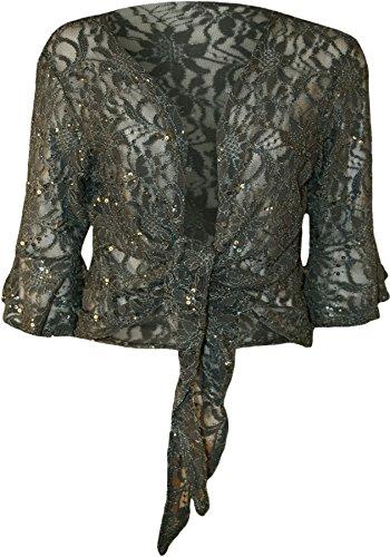 WearAll - Damen Übergröße Pailletten schnüren 3/4 glockenärmel Häkeln Partei Top - Grau - 40-42