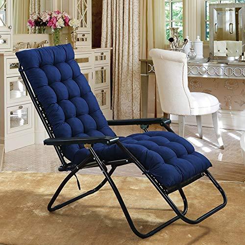 Yuly - Cuscino per sedia a dondolo, per sedie a sdraio, pieghevole, in vimini, 125 x 48 x 8 cm, colore: blu