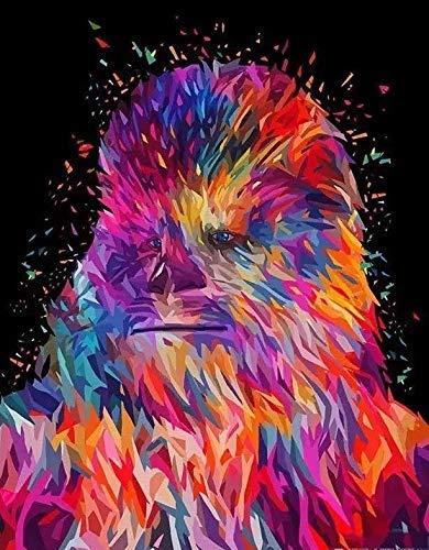 HYFBH Malen nach Zahlen Adult Kit DIY Leinwand Ölgemälde für Kinder Anfänger Acrylpigment Orang-Utan Star Wars-40x50cm (15,7x19,7 Zoll) Kein Rahmen