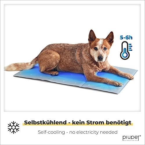 PiuPet® Tappetino refrigerante per Cani - 90 x 50 cm - Elegante Tappeto refrigerante per Cani - Adatto Anche a Cani e Gatti di Taglia Grande - Colore Grigio