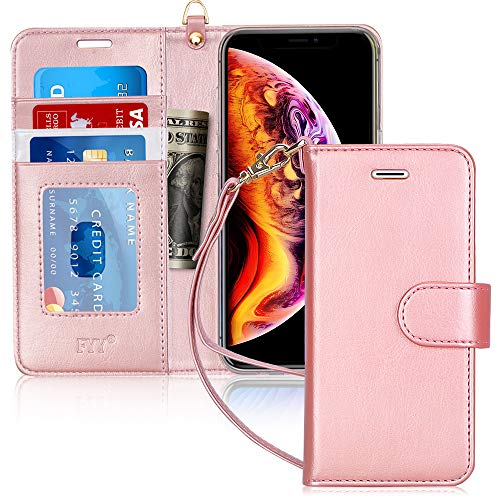 FYY Luxury PU Leather Wallet Case for iPhone Xs Max, [Kickstand Feature] Flip Phone Case Protective Folio Cover with [Card Holder] [Wrist Strap] for Apple iPhone Xs Max (6.5