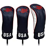 USA Golf Head Covers for Driver & Fairway Woods (Set of 3) - Premium Leather Headcovers, Designed to Fit All Woods and Drivers (Navy)