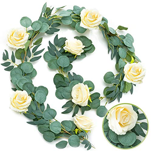 Artificial Eucalyptus Garland and Willow Vines with Champagne Roses, 6.5' Long Fake Floral Garland, Eucalyptus Leaves Greenery Garland Flower Decorations Eucalyptus Garland Wedding Table Runner