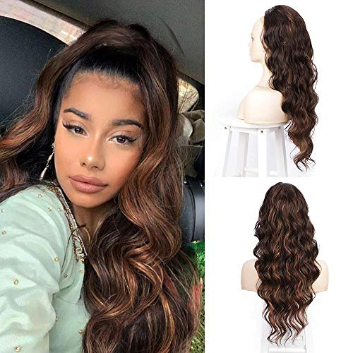 """Ponytail Extensions for Women Synthetic Long Wavy Drawstring Ponytail Clip On Extension Body Wave Curly Ponytail Hairpiece 24"""" (4/30)"""