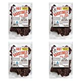 Four Bags Hard Times Real Beef Jerky, Hot, No MSG, 2.25 Ounce (4 Pack)