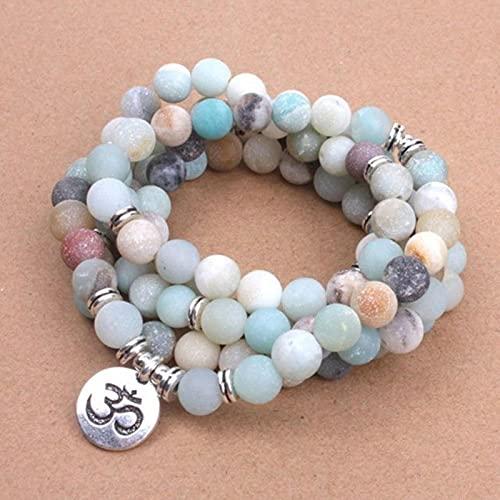Vottle Beads con Lotus Buddha Charm Yoga Pulsera 108 Mala Collar