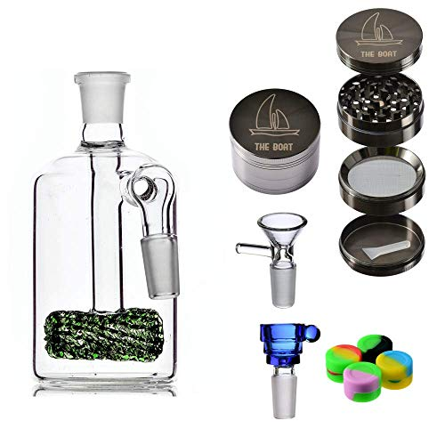 Bong Glas Percolator buiten - THE BOAT spinner 12 cm + Grinder THE BOAT lichtmetaal 4 delen + Bowls glas + accessoires van siliconen - handgemaakt Celeste Y Blanco