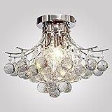 LOCO LAMP finitura cromata lampadario di cristallo L16 'X W16' X H11 'con 3 luci, mini Stile montaggio a filo della luce di soffitto Apparecchio per lo studio camera / Ufficio, Sala da pranzo, camera da letto, Soggiorno