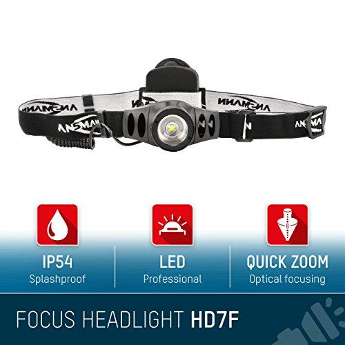 ANSMANN LED Stirnlampe HD7F mit stufenloser Fokussierung – Profi LED Arbeitsleuchte mit 280 Lumen – Kopflampe ideal zum Radfahren Laufen mit Hund Joggen Angeln Jagd Camping Werkstatt Fahrrad Licht - 2