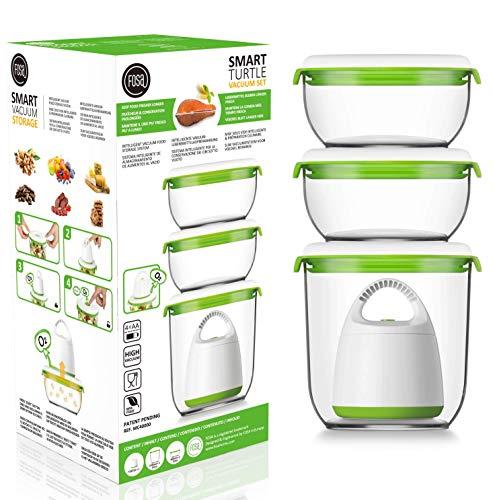 FOSA 3 x Recipientes para envasado al vacío + envasadora de vacío, Recipientes redondos para conservar alimentos, Incluida bomba para envasado al vacío, material libre de BPA