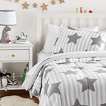 Amazon Basics Easy Care Super Soft Microfiber Kid s Bed-in-a-Bag Bedding Set - Twin Grey Stars