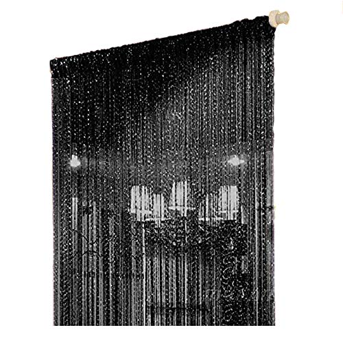 Duosuny 39x78 Inch Door String Curtain Rare Flat Silver Ribbon Thread Fringe Window Panel Room Divider Cute Strip Tassel for Wedding Coffee House Restaurant Party Parts (Pack of 2 Black)