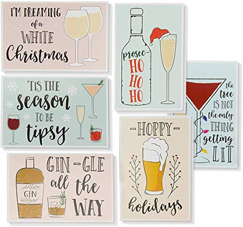 Xmas Cards - 48-Pack Merry Xmas Greeting Bulk Box Set - Holiday Xmas Greeting with 6 Drinking Holiday Funny Pun Designs Bulk Assorted Festive Winter Holiday Cards with Envelopes 4 x 6 Inches