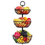 3-Tier Countertop Fruit Basket Bowl Storage - Detachable Metal Wire Fruit Bowl Stand for Counters Kitchen Countertop Dining Table - Snack Bread Baskets Holder